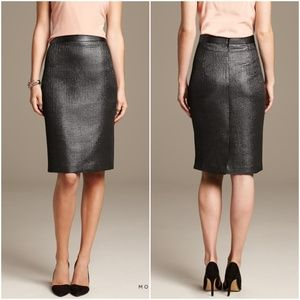 NWT BR Monogram Gunmetal Silver Shiny Pencil Skirt